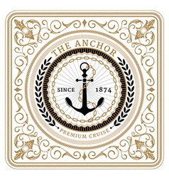 Nautical the anchor retro card vector