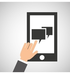 network smartphone digital bubble speech vector image