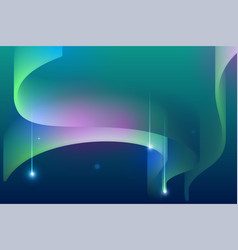northern lights night sky falling star abstract vector image