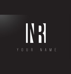 Nr letter logo with black and white negative vector