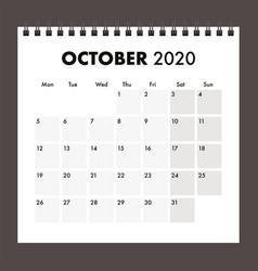 October 2020 calendar with wire band vector