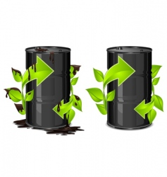 Oil barrels with arrow vector