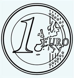 One euro coin vector image