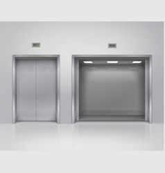 open and closed big and small metal elevator doors vector image