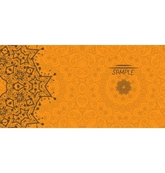 Orange greeting card with tribal ornament Flayer vector