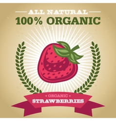 Organic Strawberry vector image