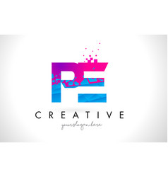 Pe p e letter logo with shattered broken blue vector