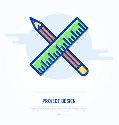 project design concept crossed pencil and ruler vector image