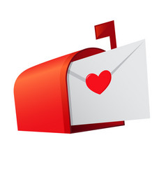 Red mail box with love letter inside vector