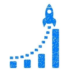 Rocket Business Start Grainy Texture Icon vector image