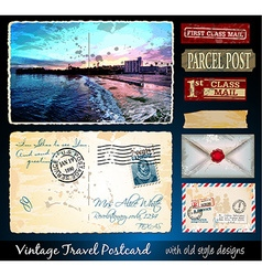 Santa cruz travel vintage postcard design vector