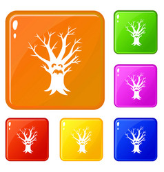 scary tree icons set color vector image