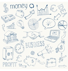 set business and money icons vector image