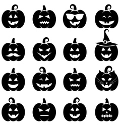 Set of black Halloween pumpkin icons vector