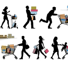 Several people are shopping vector image