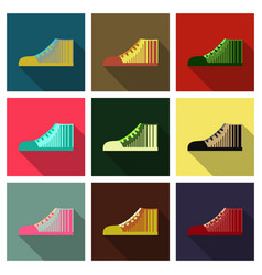 Sneakers in flat style top view vector