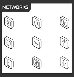 social network outline isometric icons vector image