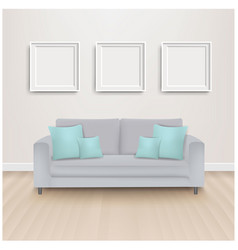 sofa bed with mint pillows and picture vector image
