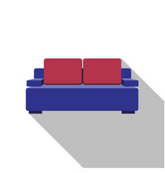sofa icon flat design with long shadow vector image
