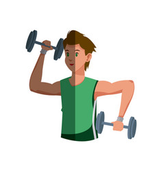 sport man barbell fitness gym hard vector image