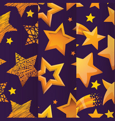 stars in different styles seamless pattern vector image