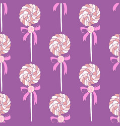 sweet hand drawn lollipops seamless pattern vector image vector image