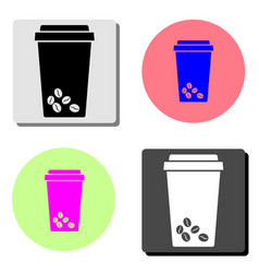 take away plastic coffee cup flat icon vector image