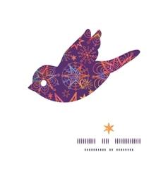 Textured christmas stars bird silhouette pattern vector