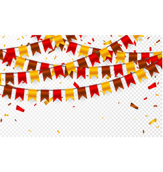 thanksgiving day flags garland on transparent vector image