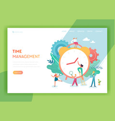 time management planning teamwork landing page vector image