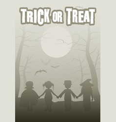 trick or treat group of children in the forest on vector image