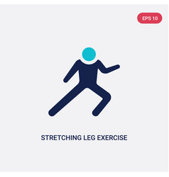 Two color stretching leg exercise icon from gym vector
