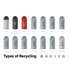 types recycling icons set waste sorting vector image