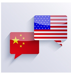 usa and china flags Eps10 vector image