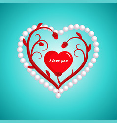 valentines day flower heart and pearl vector image