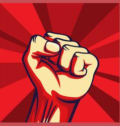 Vintage style freedom poster raised fist vector