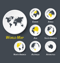 World and continent map on circle vector
