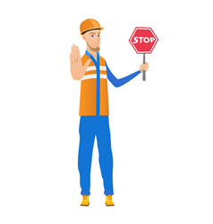 young caucasian builder holding stop road sign vector image