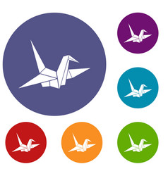 bird origami icons set vector image vector image