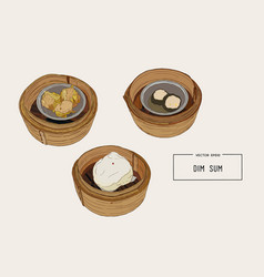 Dim sum colorful of chinese vector