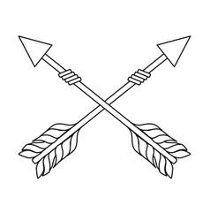 line rustic arrows with ornamental design vector image vector image