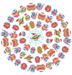 Round pattern with Cute Owls vector image vector image