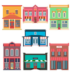 store shop front window buildings color icon set vector image