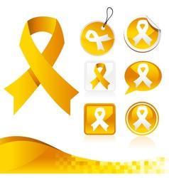 Yellow Awareness Ribbons Kit vector image vector image