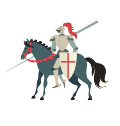 armoured medieval knight riding on a horse with vector image