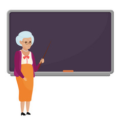 cartoon old female teacher standing in front of vector image vector image