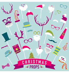 Christmas Retro Party set - Photo booth Props vector image vector image