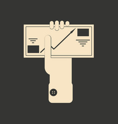 Flat black and white business envelope in hand vector