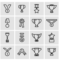 Line trophy and awards icon set vector