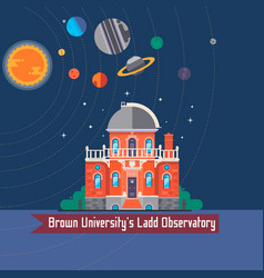 Observatory solar system all planets and moons vector